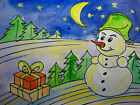 "Orig. Watercolor Painting Winter Christmas Snowman Snow Folk Art 5,5""x7,5"" inch"
