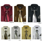 Men's Milano French Cuff Dress Shirt with Matching Tie and Handkerchief Set 305