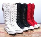 Girl Punk Rock Gothic Canvas College Shoe Sneaker Women Knee High Zip Lace Up