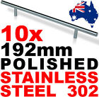 10x 192mm NEW POLISHED 302 STAINLESS SOLID DOOR HANDLES Kitchen Cabinet Bathroom