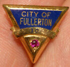"Vintage ""City Of Fullerton"" 10 year service Pin in 10K gold red stone"
