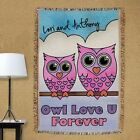 Personalized Valentine Throw Blanket Owl Love U Forever