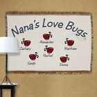 Personalized Love Bugs Tapestry Throw Blanket Throw For Grandma With Kids Names