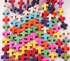 100 pcs 16mm Mixed Color Turquoise Cross Howlite Spacer Loose Beads Charms