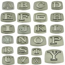 Initial Letters Western Style Cowboy Rodeo Belt Buckle Plain Silver Wholesale.