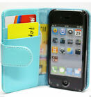 Blue iPhone 4S 4GS 4 4G Slim Credit Card Wallet Flip Leather Pouch Cover Case
