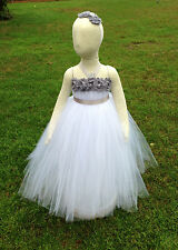 WHITE TUTU DRESS WITH GRAY FLOWER GIRL WEDDING BIRTHDAY PHOTO 6M-12M-24M-3T-4T