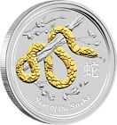 2013 Lunar Year of the Snake 1oz Silver Gilded Edition coin Perth Mint