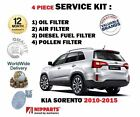FOR KIA SORENTO 2.2DT CRDi 2/2010- SERVICE KIT OIL AIR FUEL POLLEN FILTER SET