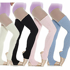 Long Stirrup Leg Warmers ~Ballet  Dance Warm up Ribbed Blue~Pink~White~Black