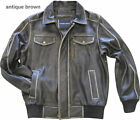 mens leather bomber jacket, cowhide brown black distressed hand treatment