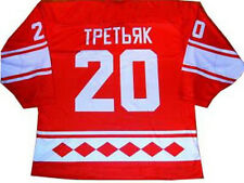 VLADISLAV TRETIAK USSR CCCP RUSSIAN HOCKEY JERSEY RED SEWN NEW ANY SIZE XS - 5XL