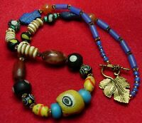 Ancient  Roman Glass& carnelian beads +  Venetian African trade beads #004