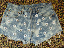 VINTAGE high waisted LEVIS shorts Studded with white Daisies ACID WASH