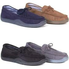 MENS WARM SLIPPERS NEW MOCCASINS LOAFERS FAUX SUEDE SHEEPSKIN SLIP ON SHOES SIZE