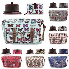 Designer Oilcloth Butterfly Satchel Messenger Tote Shoulder Bag And Purse Gift