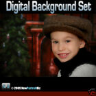 XMAS DIGITAL BACKGROUND BACKDROP FOR GREEN SCREEN AND PHOTOSHOP - FIREPLACE