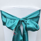 10pcs Teal Green Satin Chair Cover Bow Sash Wedding Party Banquet WED-SCS-5