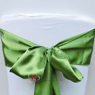 10pcs Olive Green Satin Chair Cover Bow Sash Wedding Party Banquet WED-SCS-48
