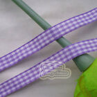 "50 Yds/Roll Purple Gingham Scotish Ribbons 10mm(3/8"") E1-4"