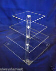 4 Tier Square Cupcake Cup Cake Stand Clear Maypole Acrylic for Wedding Party