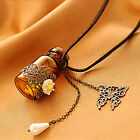 Women Retro Nice Butterfly Carved Flower Wishing Bottle Long Rope Chain Necklace
