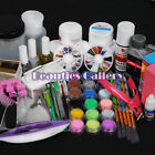 18 Acrylic Powder Liquid KITS UV NAIL ART TIP Set Dust Stickers Brush Deco 134