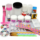 Acrylic Powder Liquid KITS UV NAIL ART TIP Set Dust Stickers Brush Deco 132