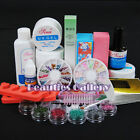 Full PRO UV GEL NAIL Art KIT 5 Powder FILE BLOCKS TOP COAT TIPS Polish Set 216