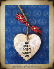 HANDMADE Keep Calm & Carry On Vintage WW2 Plaque Union Jack East Of India Ribbon