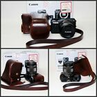 Coffee camera leather case bag cover for Canon EOS M with 18-55mm lens kit New