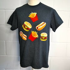 JUNK FOOD T-SHIRT GREY BURGER CHIPS FRIES HOT DOG TRIANGLE HIPSTER ALL SIZES