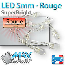 LED Rouges 5mm - Super Bright - Transparentes (red clear del)