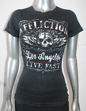 I.R. AFFLICTION womens DAVEY JONES STUDS graphic BABY Tee AW7531 Black lava XS-L
