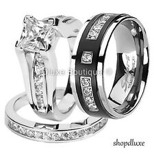 His Hers 3 Piece CZ .925 Sterling Silver & Titanium Wedding Ring Band Set