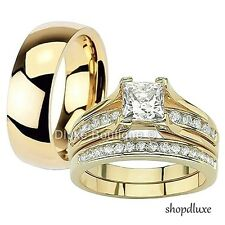 His & Hers 3 Piece 14k Gold Plated Stainless Steel CZ Wedding Ring Band Set