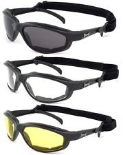 Choppers Foam Padded Motorcycle Glasses Sunglasses Riding Wind Resistant Strap