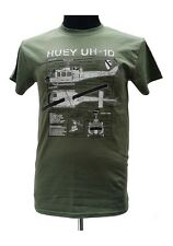 Huey UH-1D Helicopter - Vietnam War / Military T Shirt with blueprint design