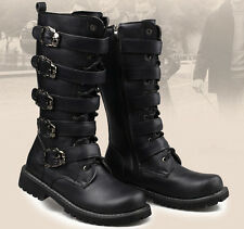 Men's Punk Buckles Lace Up Block Heel Fashion Mid Calf Boots Roman Riding Shoes