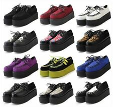 Ladies Womens Lace Up Punk Gothic Rock Double Platform Creepers Shoes 12 Styles