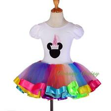 Rainbow Ribbon Trim Ballet Tutu Dancewear Fancy Fairy Dress Up Kid Size 2-8 #052