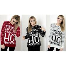 Ladies Women Santa's Favourite Cheeky Funny Slogan Retro Christmas Jumper 8-14