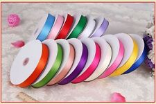 "Various colors 25/50yards 1/8"" 1/4"" 3/8"" 5/8"" 1 1/2"" double side satin ribbon HH"