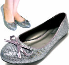 New women's shoes ballet flat ballerina pewter glitter gray bow round toe