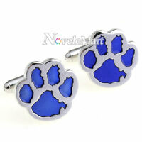 Novelty Unique Cute Blue Bear Paw Footprint Cufflinks Men's Shirt Cuff Links