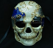 Men Boys Sugar Skull RED BLUE Masquerade Mask Bachelor Costume Halloween Party