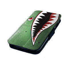 Classic Shark Face Nose Art - Printed Faux Leather Flip Phone Cover Case