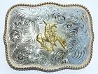 END-OF-THE-TRAIL Rectanle Belt BUCKLE G868 595 Montana Silversmith German Silver
