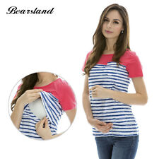 New Striped Patchwork Short Sleeve Maternity Breastfeeding Clothes Nursing Tops