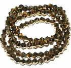 """CB335j Gold Metallic 4mm Faceted Bicone Cut Crystal Glass Beads 18"""""""